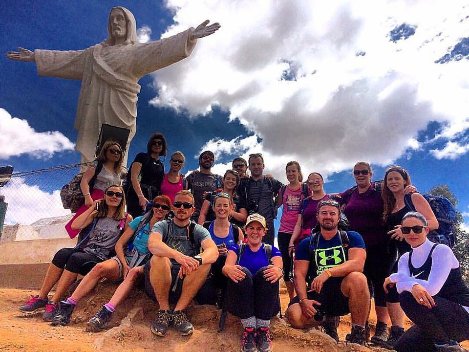 All my trekking team at Cristo Blanco in Cusco. Machu Picchu Trek