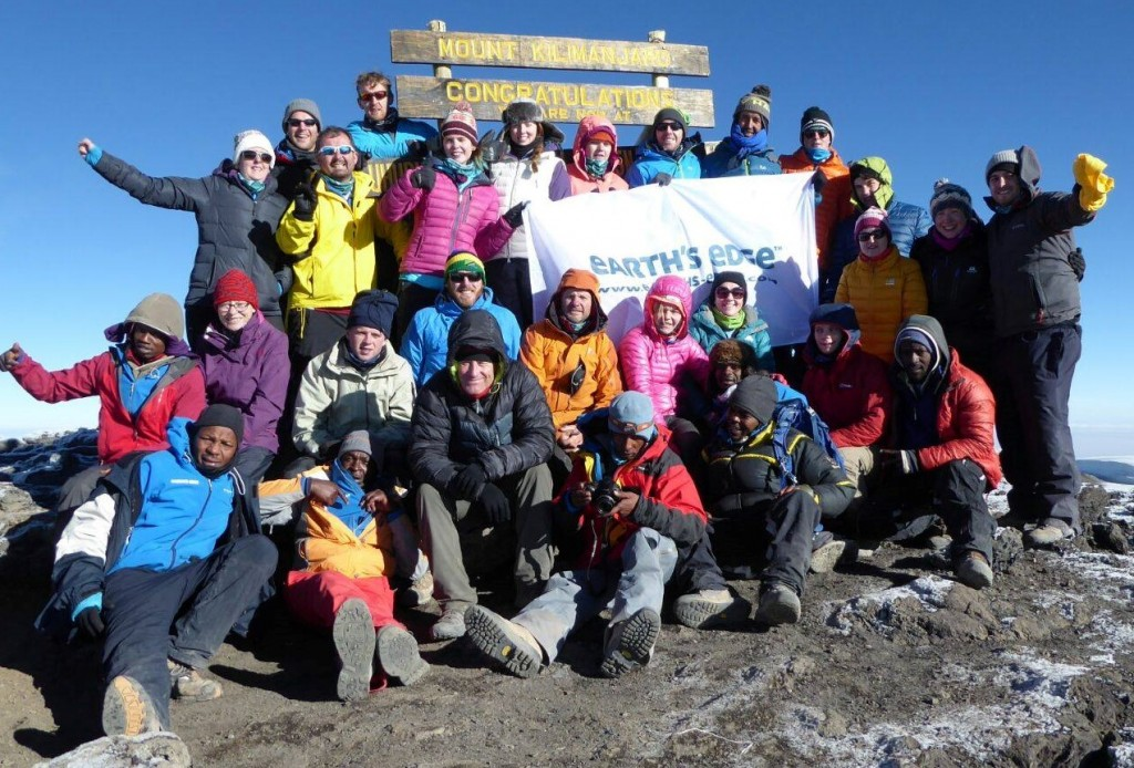 On the summit with all my Irish and Tanzanian friends!