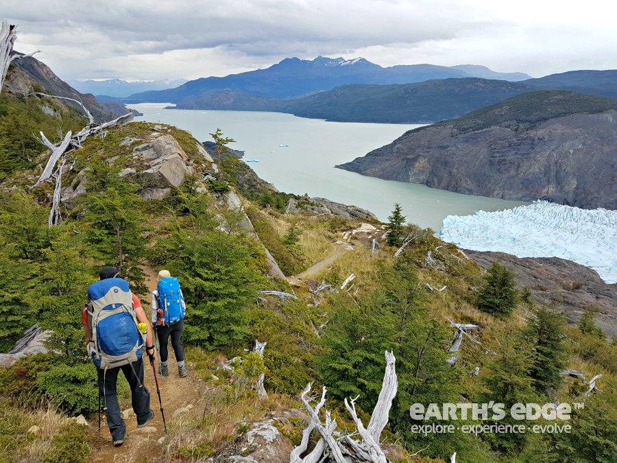 Trekking along the Grey Glacier.