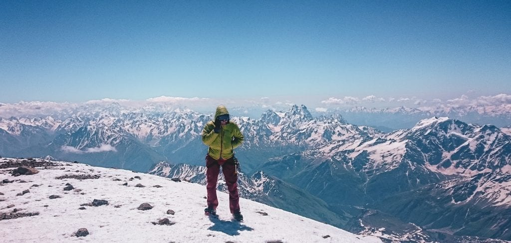 Phone call while climbing Elbrus