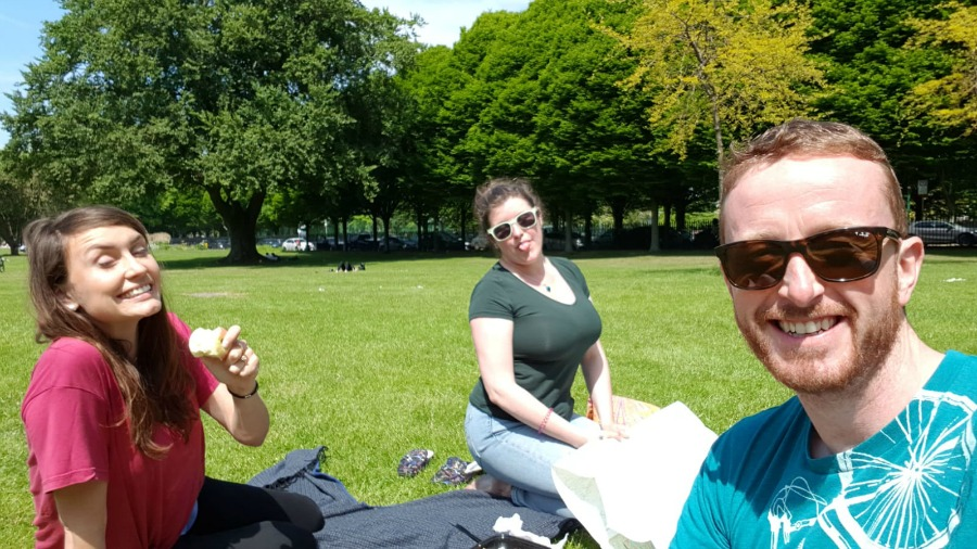 Ele, JB and myself enjoying the fine weather in Herbert Park.