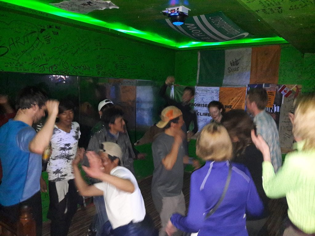 Dancing our socks off in the Irish bar in Lukla.