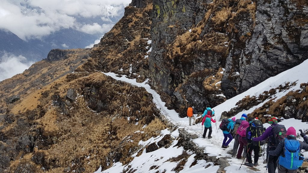 Descending from the Kongke Luchho La pass (4,450m)