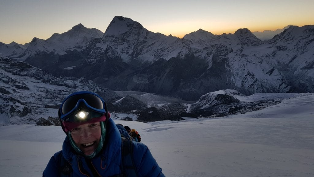 Moira as the sun rose above Makalu in the background.