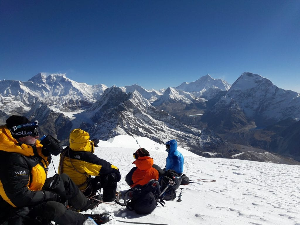 View of Everest, Lhoste and Makalu from the summit route.