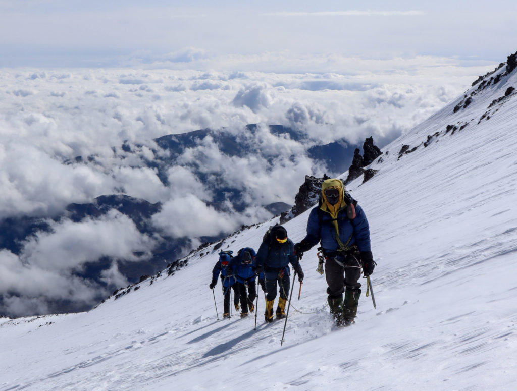 Marks team heading for the summit of Mount Elbrus in glorious conditions.
