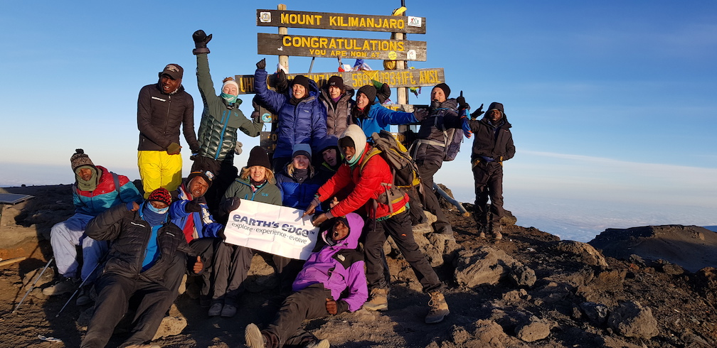 Earth's Edge expedition at the peak Kilimanjaro