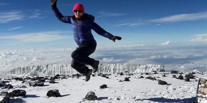 Jumping at the top of Kilimanjaro, Earth's Edge