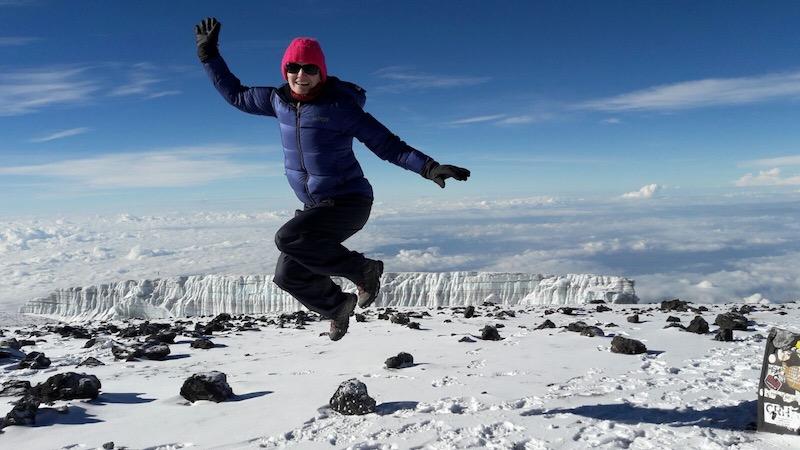 Jumping at the top of Kilimanjaro, Earth's Edge